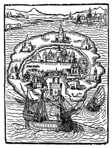 Die Karte der Insel Utopia in der Erstausgabe von 1516.
