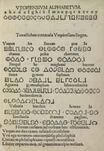 Utopisches Gedicht und Alphabet der Erstausgabe.
